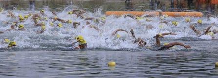 Ironman Philippines nageant le début de chemin photos stock