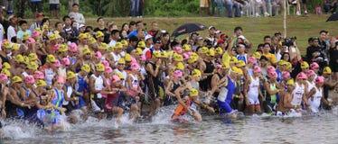 Ironman Philippines swimming race start Stock Photo