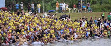 Ironman Philippines swimming race start Stock Images