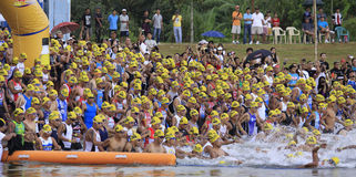 Ironman Philippines swimming race start Stock Photography