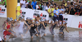 Ironman Philippines swimming race start Royalty Free Stock Photo