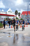 Ironman triathlete in race royalty free stock photos