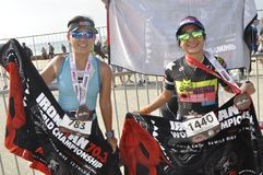 Ironman 70 un campionato di 3 mondi nel elizaeth del porto in Sudafrica fotografie stock libere da diritti
