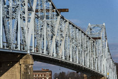 Ironton-Russell Bridge. The Ironton-Russell Bridge crosses the Ohio River between Ironton, Ohio and Russell, Kentucky. The original circa 1922 cantilevered truss Royalty Free Stock Photography