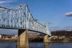 Ironton-Russell Bridge. The Ironton-Russell Bridge crosses the Ohio River between Ironton, Ohio and Russell, Kentucky. The original circa 1922 cantilevered truss Stock Image