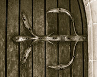 Ironwork on the door detail. Horizontal black and white split toning sepia tone variation photography royalty free stock images
