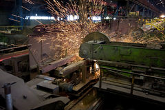 Ironworks. Rolling in ironworks, production line Royalty Free Stock Photos