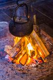 Irori fire and Japanese kettle Stock Images