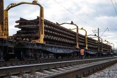 Repair and modernize the Irpin-Bucha railway line on Kiev region. stock images