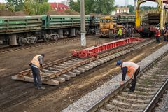 Repair workers modernize the Irpin-Bucha railway line on Kiev region. stock photography