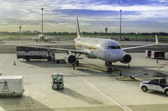 Irplane parking on Bangkok International Airport Royalty Free Stock Photo
