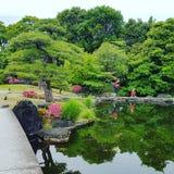 Irra runt om en japansk trädgård royaltyfri bild
