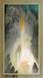 irradiacja Fantazja bajkowy krajobraz Obraz olejny na drewnie Zdjęcie Stock
