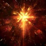 Irradiamento leggero dall'incrocio cosmico in arancio rosso e giallo caldi royalty illustrazione gratis