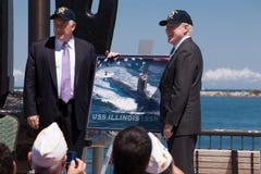Irradie Mabus e pancadinha Quinn na cerimónia de USS Illinois Fotografia de Stock