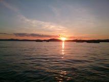 Irrawaddy河日落 免版税库存图片