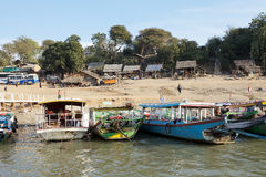 Irrawaddy flod i Bagan, Myanmar Arkivbild