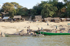 Irrawaddy flod i Bagan, Myanmar Arkivfoto