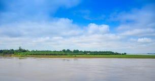 Irrawaddy flod, Sagaing region, Myanmar Arkivbilder