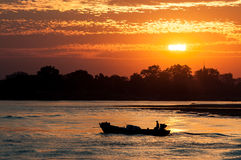 Irrawaddy river. Sunset on the Irrawaddy river in Myanmar Royalty Free Stock Images
