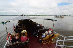 Cruising on Irrawaddy river. Myanmar. The Irrawaddy River or Ayeyarwady River is a river that flows from north to south through Myanmar, the country`s largest Royalty Free Stock Photography