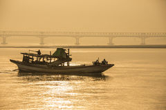 Irrawaddy River - Myanmar (Burma). Sunrise on the Irrawaddy River (Ayeyarwaddy River) in Myanmar (Burma).  It is the countrys largest river and most important Royalty Free Stock Photo