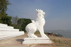Irrawaddy river Myanmar. Details of the liogriph guardian sculpture at the stairway leading up from the Irrawaddy river banks to MIngun Pahtodawgy  Mingun Stock Photo
