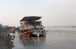 Irrawaddy river Myanmar. Traditional burmese boats on the Irrawaddy river at Mandalay, Myanmar. The Irrawaddy river flows from North to South through Burma. It Royalty Free Stock Photography
