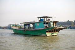 Irrawaddy river Myanmar. Traditional burmese boats on the Irrawaddy river at Mandalay, Myanmar. The Irrawaddy river flows from North to South through Burma. It Royalty Free Stock Images