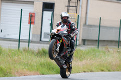 IRRC Motorcycle race in Ostend Belgium. Didier Grams showing off some of his skills at the end of the practise run Stock Image