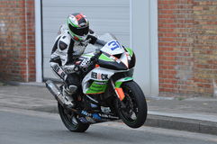 IRRC Motorcycle race in Ostend Belgium. Kevin de Frenne, full gas wheelie Stock Photos
