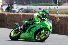 IRRC Motorcycle race in Ostend Belgium. A leaning shot of the Kawasaki ZX10R of Thilo Günther during the IRRC Superbike traning Stock Image