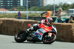 IRRC Motorcycle race in Ostend Belgium. Local hero Jan Van Steelandt, leaning with his Ducati Panigale  in the final turn of the circuit Royalty Free Stock Photo