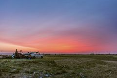 Irrealny wschód słońca w wschodnim Mongolia Obrazy Stock