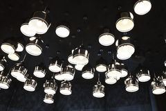 Irregular arrangement of aluminum cover LED lights Stock Photos