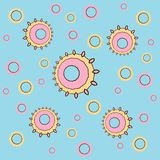 Irregular concentric circles pattern pink yellow light blue. Abstract geometric background. Irregular concentric circles pattern pink and yellow on light blue vector illustration