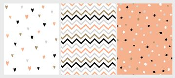 Funny Bright Hand Drawn Chevron, Hearts and Dots Vector Patterns. stock illustration