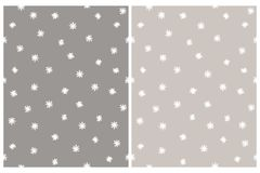 Cute Stars Irregular Vector Patterns. Gray and White Delicate Design. stock illustration