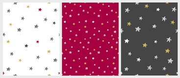 Christmas Delicate Illustrations. Set of 3 Varius Star Vector Patterns. stock illustration