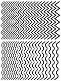 Irregular lines. Set of distorted lines from thin to thick. Stock Images