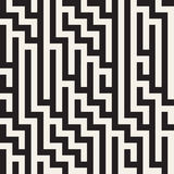 Irregular Maze Shapes Tiling Contemporary Graphic Design. Vector Seamless Black and White Pattern Royalty Free Stock Images