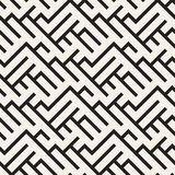 Irregular Maze Shapes Tiling Contemporary Graphic Design. Vector Seamless Black and White Pattern Stock Photography