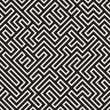 Irregular Mazy Lines. Vector Seamless Black and White Pattern. Stock Image