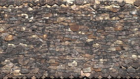 An irregular pattern of roof tiles in an ancient temple in Thailand. Royalty Free Stock Image