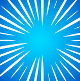 Irregular, random white radial, radiating lines over bright, viv. Id blue background. Simple sunburst pattern. - Royalty free vector illustration Royalty Free Stock Image