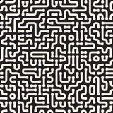 Irregular Rounded Lines Cirquit. Vector Seamless Black and White Pattern. Royalty Free Stock Image