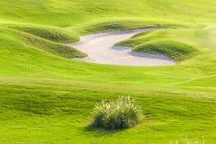 Irregular shape of sand bunker challenging hazard in fresh green. Irregular shape of sand bunker is fun and challenging hazard in beautiful green golf course stock photos