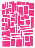 Irregular square and rectangle shapes in pink over white Royalty Free Stock Photography