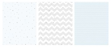 Set of 3 Bright Delicate Chevron and Dots Vector Patterns. Irregular Tiny Dots Pattern. Grey and Blue Chevron Designs. White, Gray and Blue Pastel Colors stock illustration