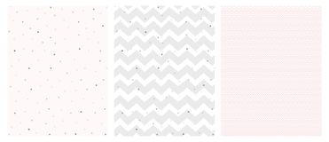 Set of 3 Bright Delicate Chevron and Dots Vector Patterns. Irregular Tiny Dots Pattern. Grey and Pink Chevron Designs. White, Gray and Pink Pastel Colors vector illustration